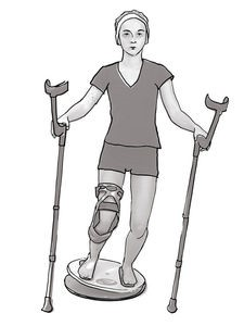 Beinachsentraining mit Krücken