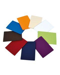 Alle Farbvarianten der Bezüge: orange, creme, weiß, grün, violett, lila, rot, braun, blau