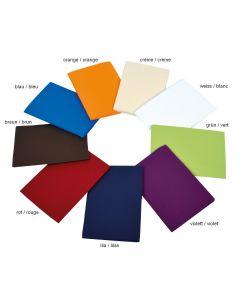 Alle Farbvarianten der Bezüge im Kreis: orange, creme, weiß, grün, violett, lila, rot, braun, blau
