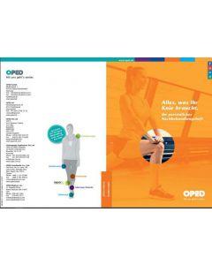 Titelseite des Nachbehandlungsheft in orangen Design mit Fokus auf ein Knie