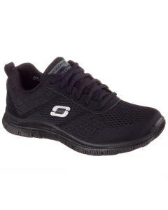 Schwarzer Skechers Flex Advantage Master BKK Schuh mit weißem Skechers Logo an der Seite