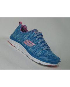 Blau-pinker Skechers Valeris BLCL mit pinken Skechers Logo an der Seite