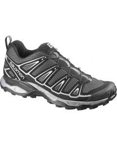 Grau-schwarzer Salomon x Ultra 2 Schuh mit atmungsaktivem Material und Quicklace-Schnürsystem